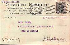 CARTOLINA PUBBLICITARIA OGGIONI ROMEO FABBRICA LETTI MILANO 1929  C5-658
