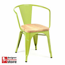 Replica Xavier Pauchard Tolix Metal Armchair - Lime - 3cm Oak Wood Seat