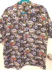 O'lico Men's Size Large Vintage Retro Car Hawaii Floral Biutton Front Shirt