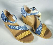 NWOB Toms Size 7.5 Blue Wedge Heels Womens Shoes MSRP  $79