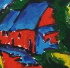 "Original Art Landscape Painting 12""x10"" Fauvist Expressionist Acrylic on Canvas"