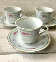 3 Vintage China Made-In-China Blue Scroll Pink Rose Gold Trim Teacup Saucer Set