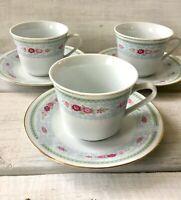 3 Vintage China Made-In-China Blue Scroll Pink Rose Gold Trim Teacup Saucer Set