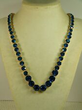 NECKLACE:  NEW DESCENDING LARGE ROUND CUT BLUE SAPPHIRE (12MM-6MM) 19-1/2 IN