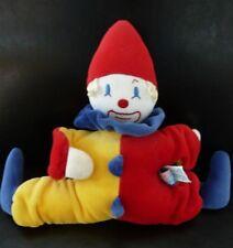 54- DOUDOU CLOWN SUCRE D'ORGE HOCHET GRELOT rouge jaune bleu - TBE
