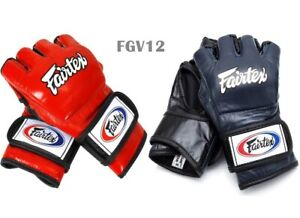 Fairtex Sparring Gloves FGV12 Open Thumb ( M,L,XL )Genuine Leather MMA Gloves K1