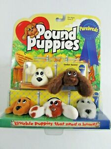 Vintage 1996 Galoob Mini Pound Puppies Plush Dogs Lot of 5 Purebreads New