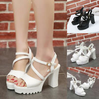 Women Fish Mouth Rhinestone Platform High Heels Sandals Buckle Strap Shoes