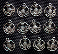 10 Scottish Thistle Charms Silver Tone Metal 24mm