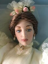 "FRANKLIN MINT Gibson Girl 16"" Vinyl DOLL LILLY BRIDE in Wedding Ensemble NRFB"