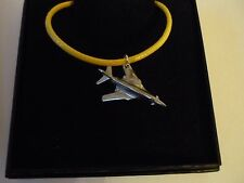 """Rockwell B-1 Lancer c37 English Pewter On a 18"""" Yellow Cord Necklace"""