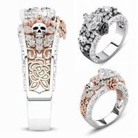 Women Men Skeleton Halloween Punk Rock Heart Zircon Gothic Rose Skull Ring