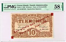 Faeroe Islands:  Faero Amt 10 Kroner 1940 Pick 2 PMG Choice About Unc 58 EPQ.