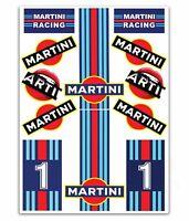 Set 12 PVC Vinyle Autocollants Martini Racing Stickers Voiture Auto Moto Casque