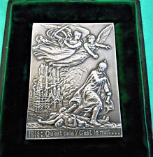 FRANCE-1917-WWI-JUSTICE & VENGEANCE PURSUING THE KAIZER- SILVER PLAQUE -IN BOX