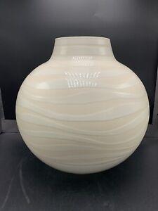 Large Italian Striped Ceramic Floor Round Ball Vase Italy Vintage 80s