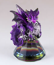 "Small Purple Dragon On Pyramid Glass Figurine 3"" High Resin New In Box"