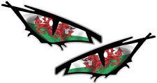 Pair Of EVIL Eyes Eye Wales Welsh CYMRU Flag car Helmet Drone Sticker 70x35mm