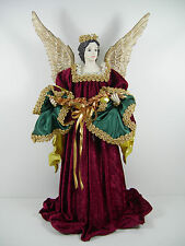 "Sandy Dolls Angelica 18 "" Tree Topper Angel Burgundy Velour Elegant Vintage"
