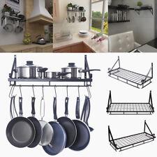 New 90CM XL Kitchen Wall Hanging Pot Pan Rack Rustproof Utensils Storage Shelf