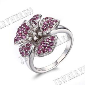 Solid 14K White Gold 1.5CT Wedding Diamonds Rubies Gemstones Flower Ring Jewelry