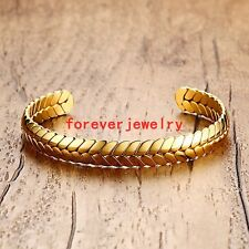 Gold Jewelry Cuff Open Wheat Design Stainless Steel Mens Womens Bangle Bracelet