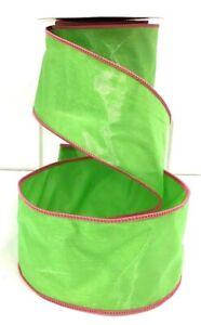 "Satin Wired Green Ribbon~Organza Overlay~Stitched Pink Edge~2 1/2""W x 5 yd"
