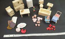 Vintage Assortment Doll's House Furniture,Pram, Table, High Chair Bath Oven etc