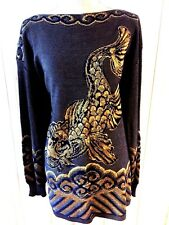 CHELSEA COLLECTION  SWEATER SIZE 18/20  ASIAN NAVY/GOLD EMBELLISHED KOI GORGEOUS