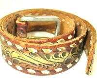 Vintage  Western Hand Tooled Leather Belt with White Stitch Detail Sz 34 Brown