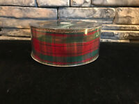 "50 Yards!  Christmas Holiday Plaid  Wired Ribbon  2.5"" Wide Wholesale Lot"
