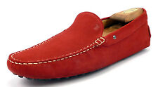 Tod's Mens Shoes Size 9 US Suede Leather Driving Moccasins Red