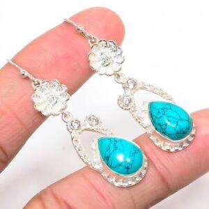 """Santa Rosa Turquoise & White Topaz 925 Sterling Silver Earring 2.05"""" S211232"""