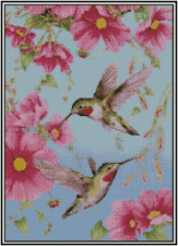 Counted Cross Stitch Hummingbirds with Flowers  - COMPLETE KIT No. 18-113 Kit
