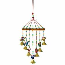 KKSM Traditional Art Home Decoration Wall Hanging Elephant Wind Chime with Bells