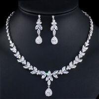 CWWZircons Luxury Leaf Cubic Zirconia Silver Plated Wedding Necklace Jewelry Set