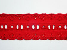 """3 METRES Flame Red Broderie Anglaise Eyelet Lace Trim 1.75""""/4.5cm TOP SELLER"""