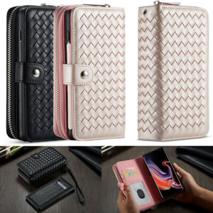Magnetic Case Cellphone Zipper Weave Wallet  for Samsung S10 S10 Plus iPhone XR