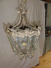 Antique French Hall lantern in patinated brass - period lighting.