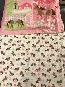 2 Pc Circo Pretty Ponies Horse Twin Flat Sheet & Pillow Sham Pink Flowers