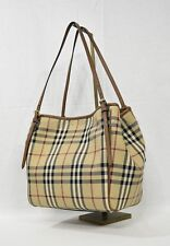 218c Burberry Small Canter Beige Leather Horseferry Check Tote