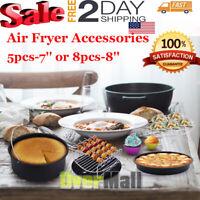 "7''/8"" Air Fryer Accessories Chips Baking 5/8Pcs Set Cake Pizza Pan Skewer Rack"