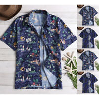 INCERUN Men's Hawaiian Floral Shirt Collar Neck Short Sleeve Beach Party T shirt