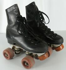 Vintage Youth Boys Chicago Black Leather Quad Roller Skates Classic Size 1