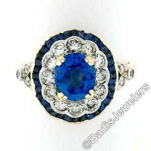 Vintage 18k Gold Platinum AGL 3.11ctw Ceylon French Cut Sapphire Diamond Ring