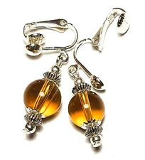 Short Silver Amber Yellow Clip-On Earrings Drop Dangle Glass Bead