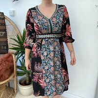 Monsoon Floral Dress Embellished w/ Sequins & Embroidery Boho Gypsy Vibes Sz 8