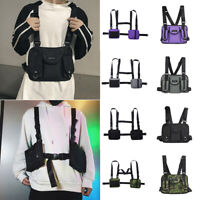 Mens Tactical Harness Chest Rig Bag Unisex Hip-Hop Oxford Two Pockets Fanny Pack