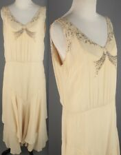 VTG 1920s 1930s Ivory Chiffon Dress w/ Beads & Rhinestones 20s 30s #1928 Gown