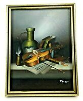 Vintage Small Still Life Framed Painting Signed Oil on Canvas Study Violin Music